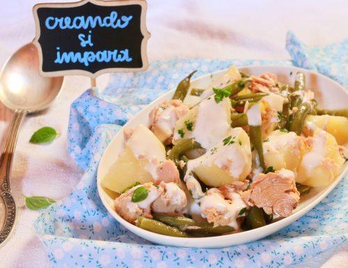 insalata di patate tonno e fagiolini con salsa allo yogurt