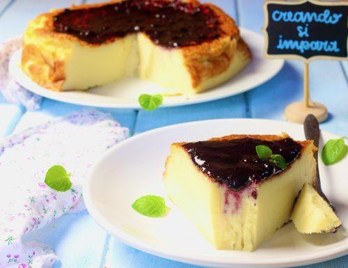 torta di crema e confettura di mirtilli