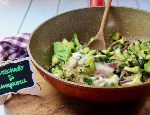 zucchine con cipolla filanti