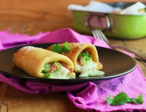 crepes con zucchine Asiago e speck