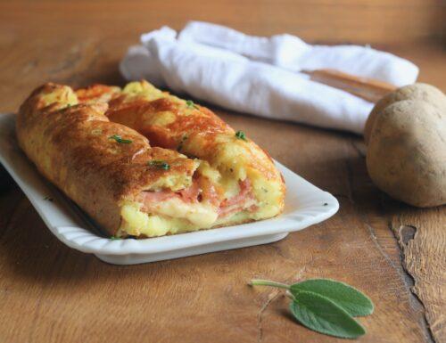 strudel di patate con prosciutto e formaggio