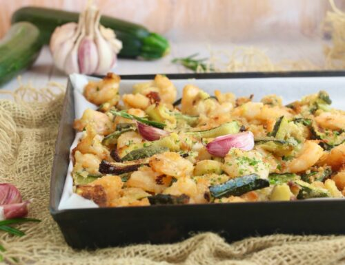 gamberi e zucchine sabbiosi al forno