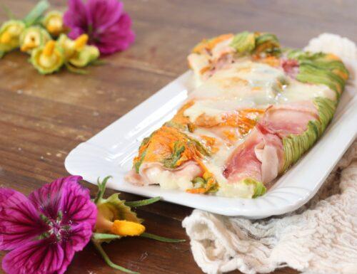 rotolo di fiori di zucca con prosciutto e formaggio