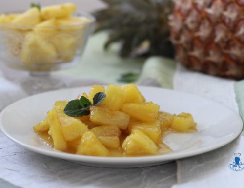 Ananas caramellato, ricetta golosa di facile e veloce preparazione