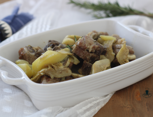 Agnello con  carciofi in padella, ricetta facile e con tanto sapore