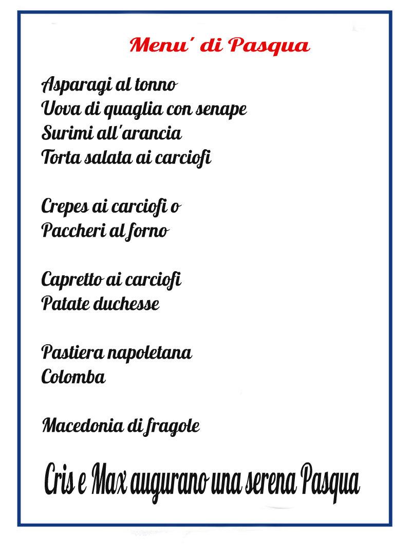 Men 249 Di Pasqua Ricette Varie Cris E Max In Cucina