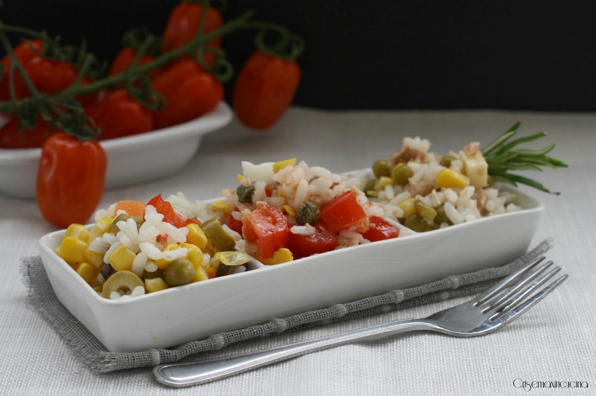 tris di insalate di riso