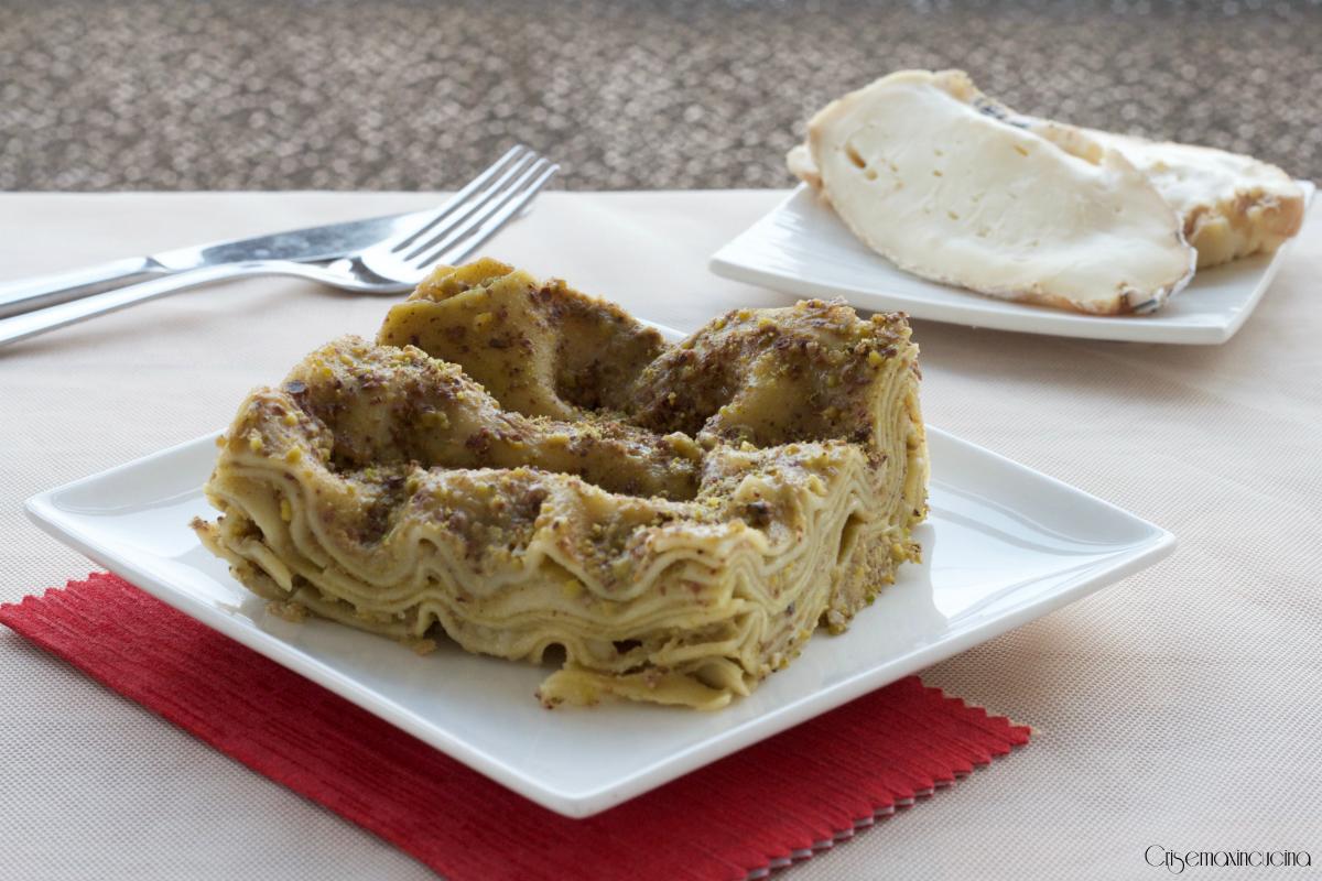 lasagne al pesto di pistacchi e taleggio