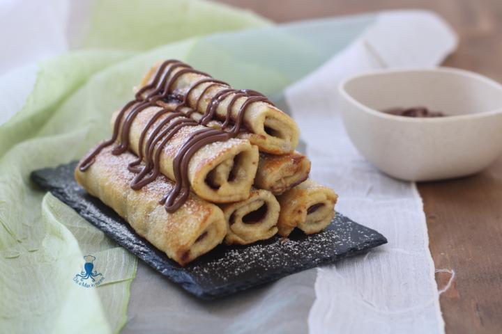 French toast roll ups con la nutella