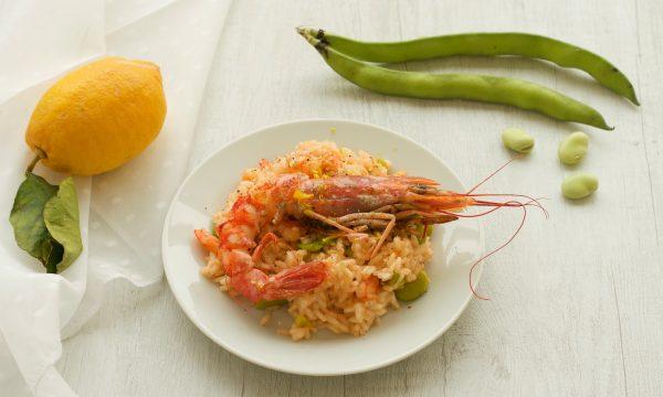 Risotto con gamberi e fave, ricetta raffinata e gustosa