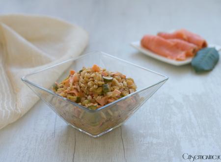 5 cereali risottati con zucchine e salmone