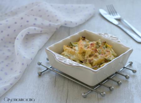 Pasta gratinata con zucchine cotto e panna