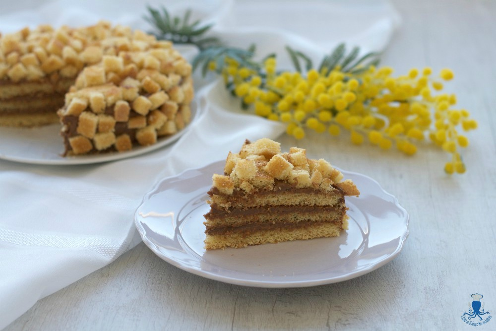 Torta mimosa con crema al cioccolato