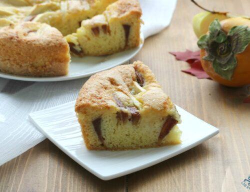 Torta soffice di cachi e mele, ricetta rustica senza burro