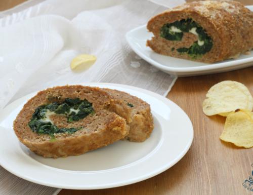 Polpettone spinaci e mozzarella, ricetta al microonde con piatto crisp