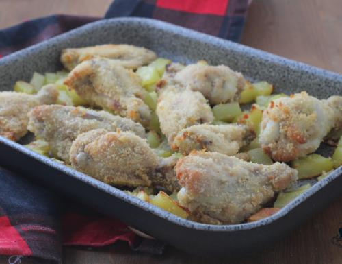 Ali di pollo e patate al forno, ricetta facile ed economica
