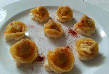 tortellini fritti su crema di parmigiano