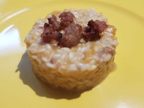 risotto  zucca e salsiccia croccante
