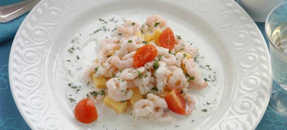 Gamberetti in salsa con polenta