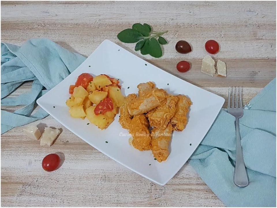 involtini di lonza con patate e peperoni
