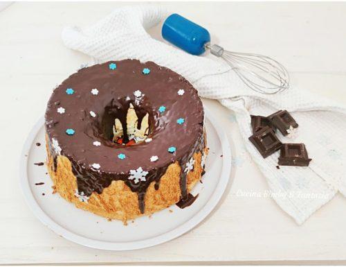 Angel cake all'arancia con ganache al cioccolato fondente con Bimby e senza
