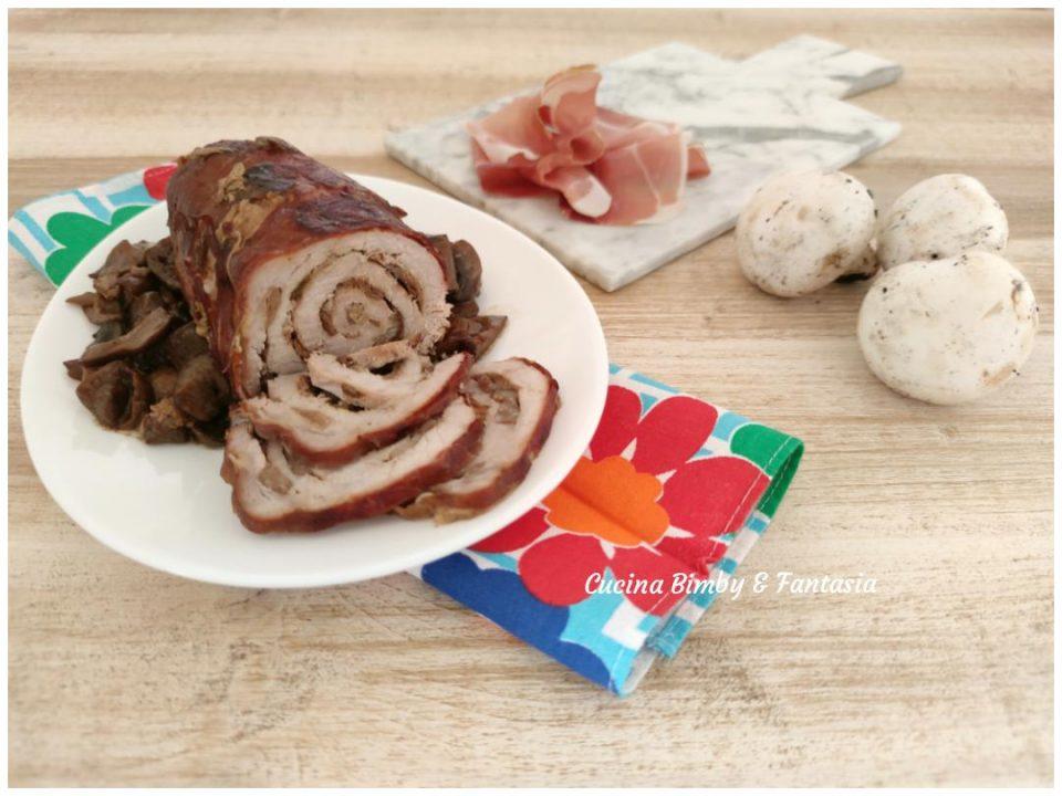 rotolo di lonza con porcini e castagne