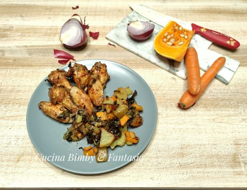 Ali di pollo speziate con verdure miste