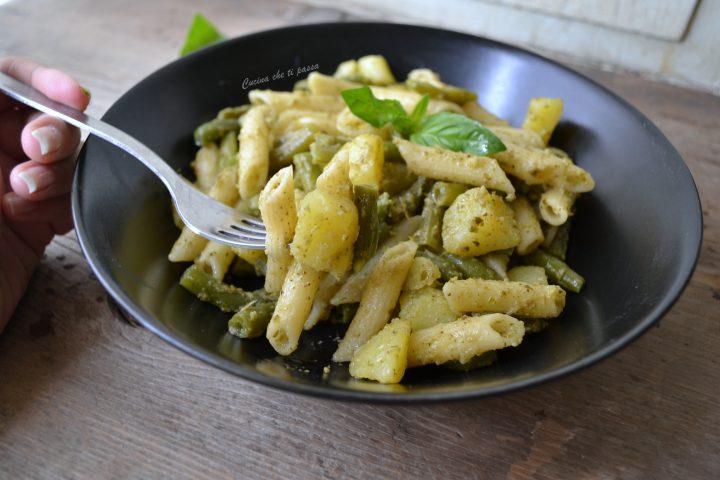 penna con patate faiolino e pesto (1)
