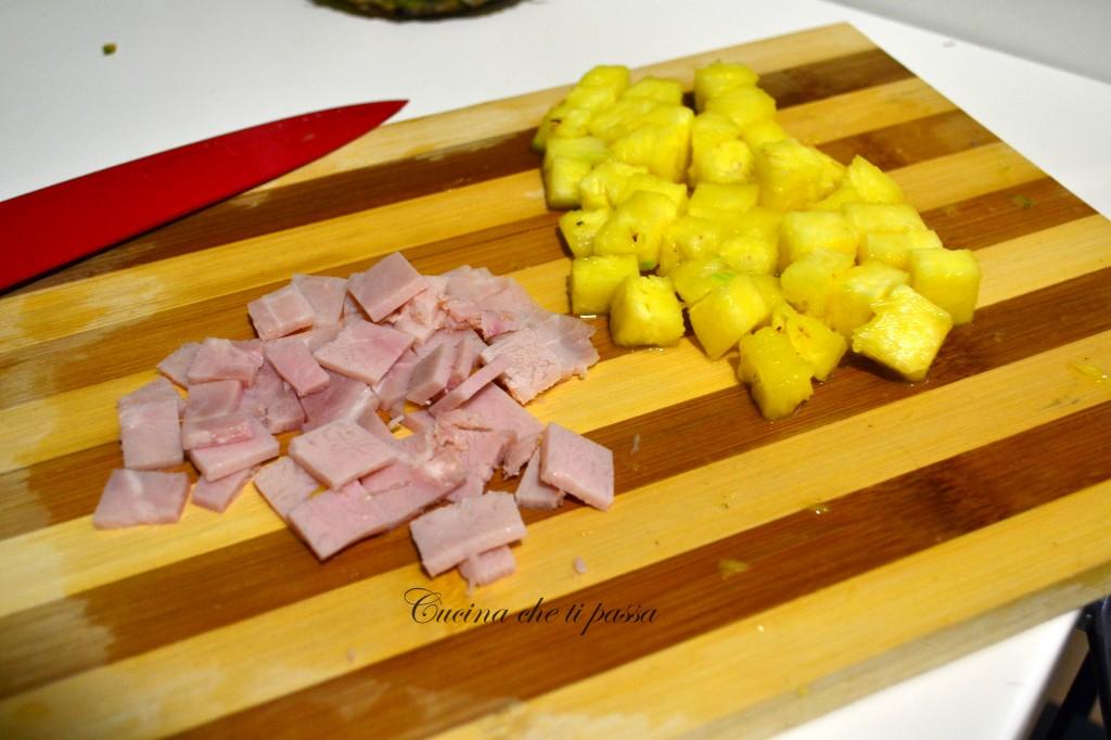 ricetta insalata di riso con prosciutto ed ananas (2)
