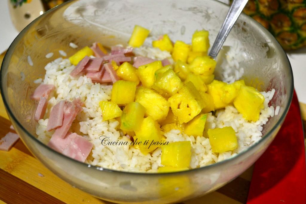 ricetta insalata di riso con prosciutto ed ananas (3)