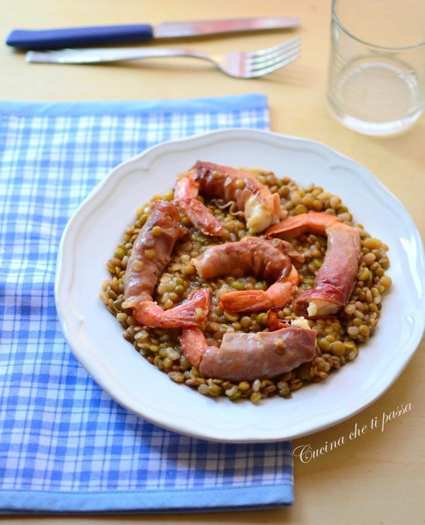 gamberoni con specke  lenticchie ricetta (11)