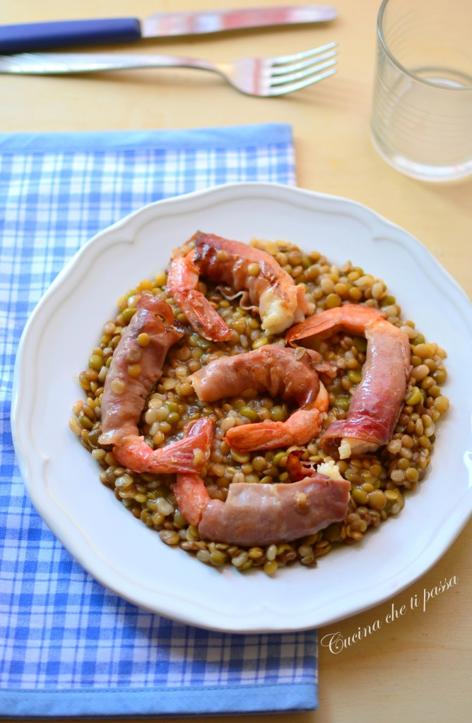 gamberoni con specke  lenticchie ricetta (12)