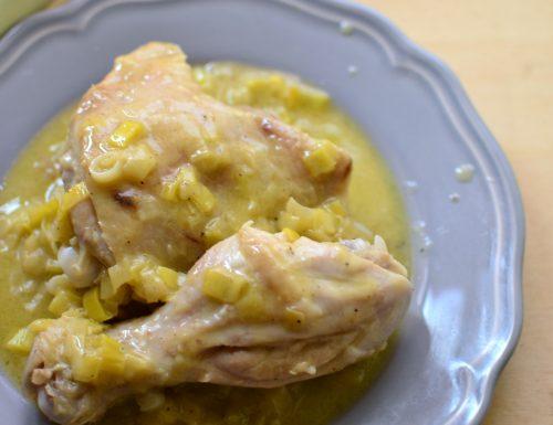 Pollo in crema di porri e vino