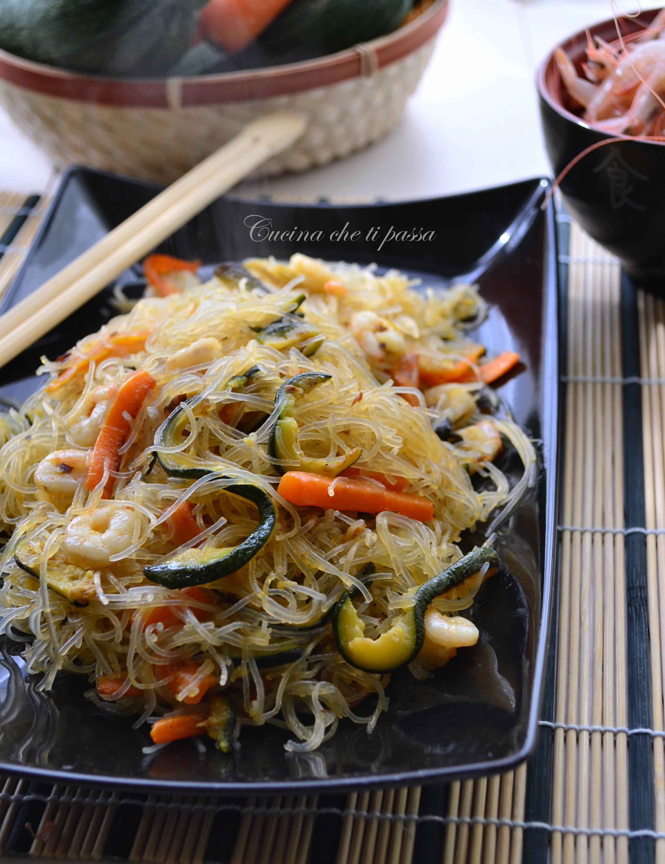 ricerca ricette con spaghetti di riso con verdure e