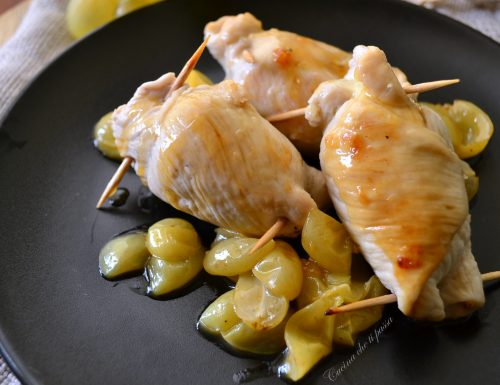 Involtini di pollo ed uva bianca
