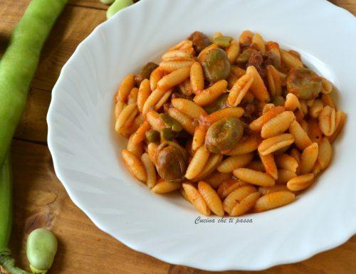 Gnocchi sardi con fave, piselli e pancetta