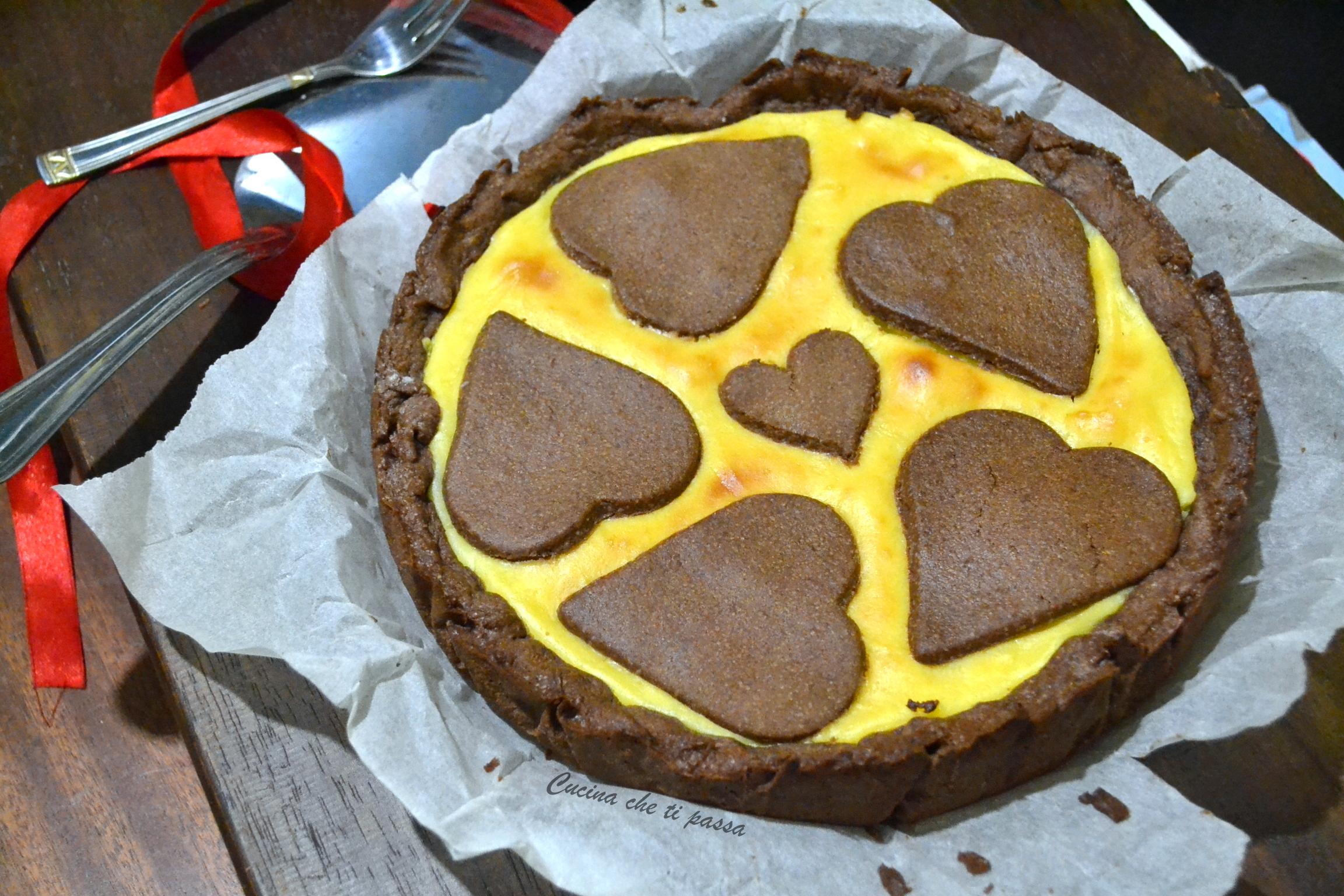 Crostata al cioccolato e crema pasticcera
