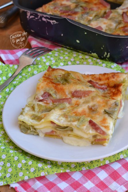 Lasagne prosciutto e carciofi