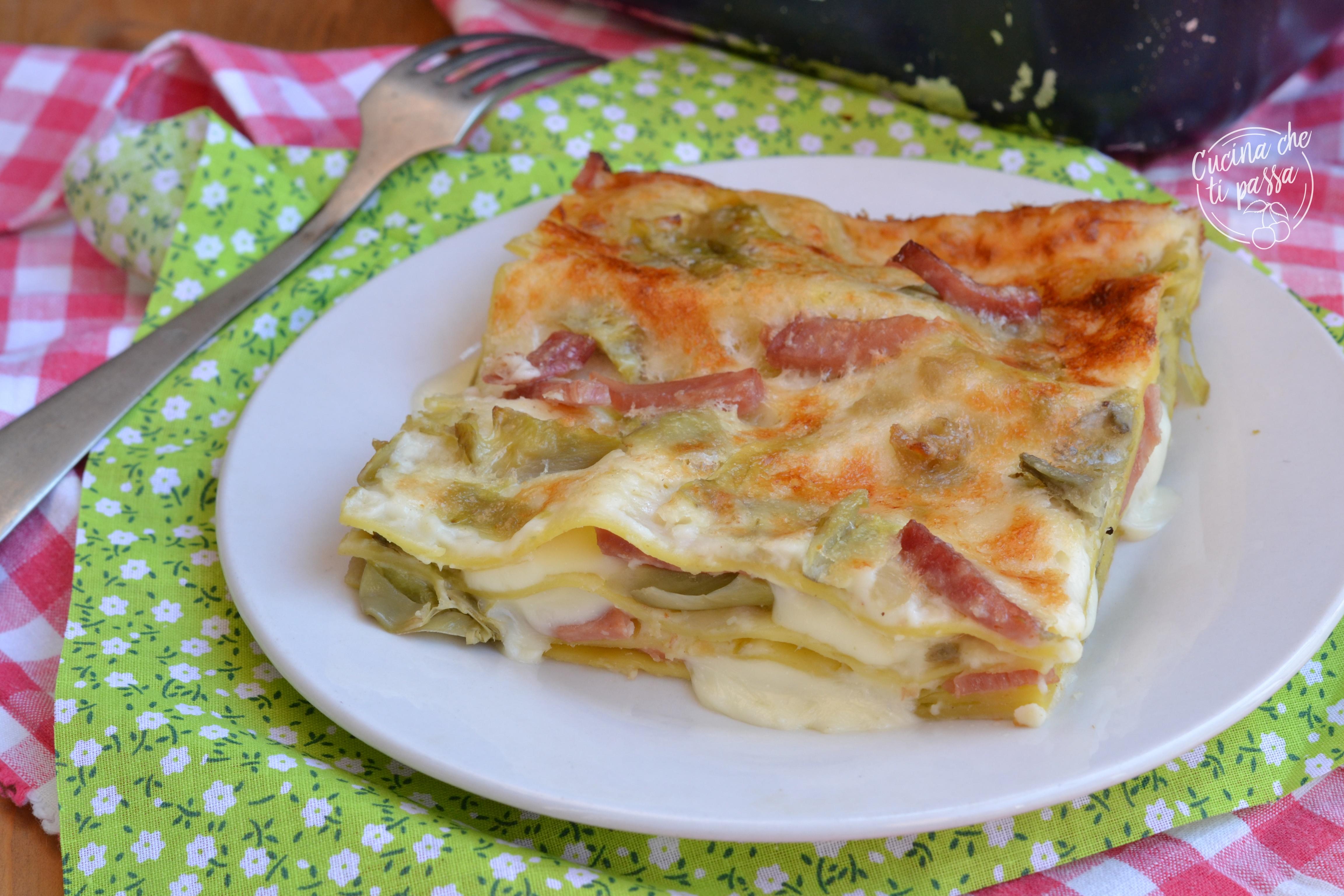 Lasagne prosciutto e carciofi ricetta