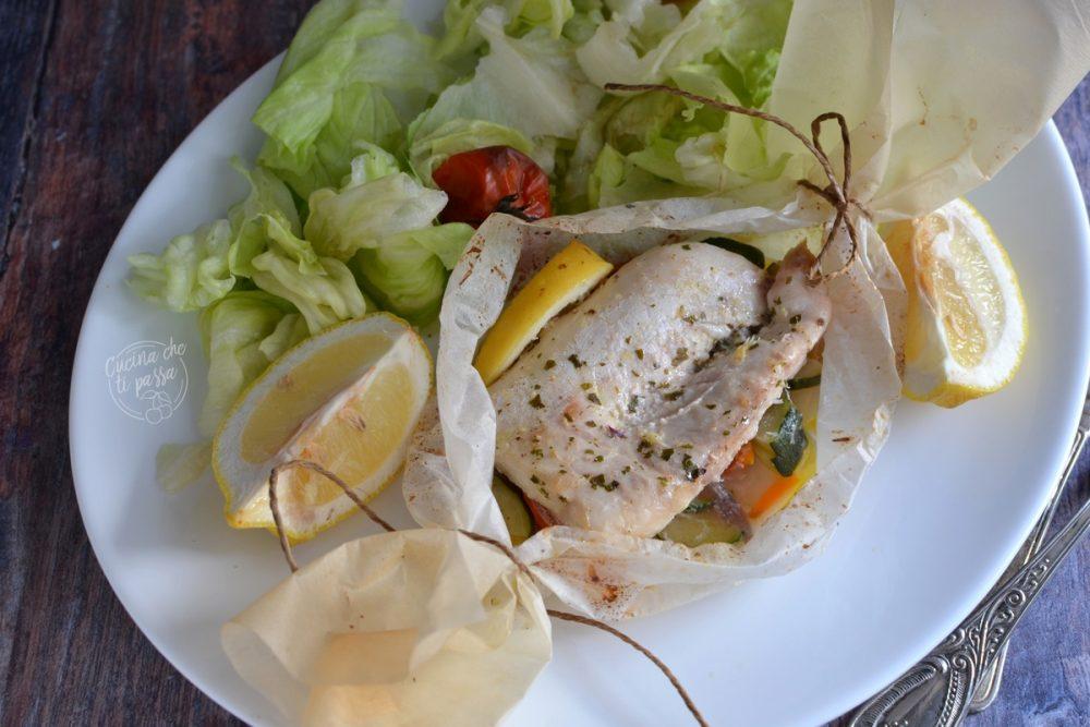 Pesce persico al cartoccio e verdure