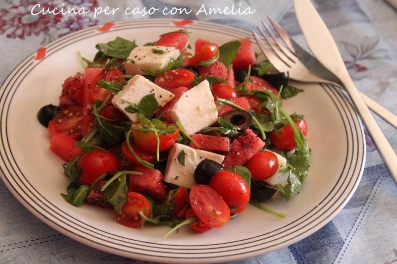 Insalata di anguria e feta, ricetta | Cucina per caso con Amelia