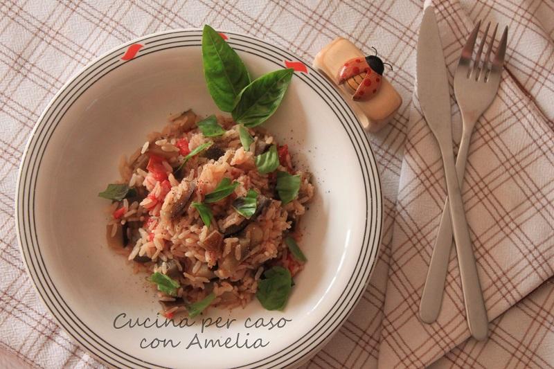 Riso con melanzane al basilico   Cucina per caso con Amelia