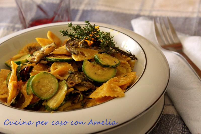 Pasta cremosa con verdure grigliate