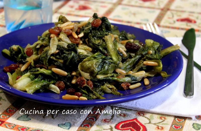 Scarola uvetta e pinoli, ricetta contorno