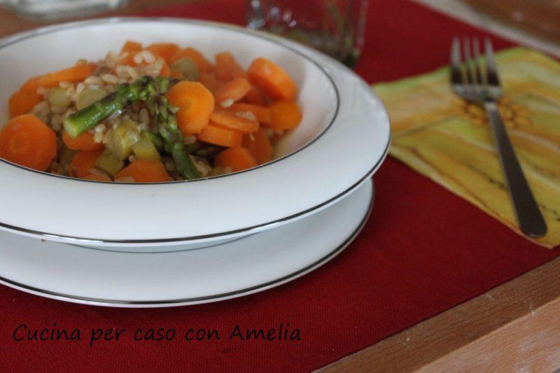Riso agli asparagi con carote, ricetta