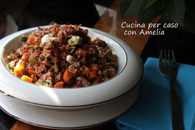 Insalata di riso rosso con ratatouille, ricetta