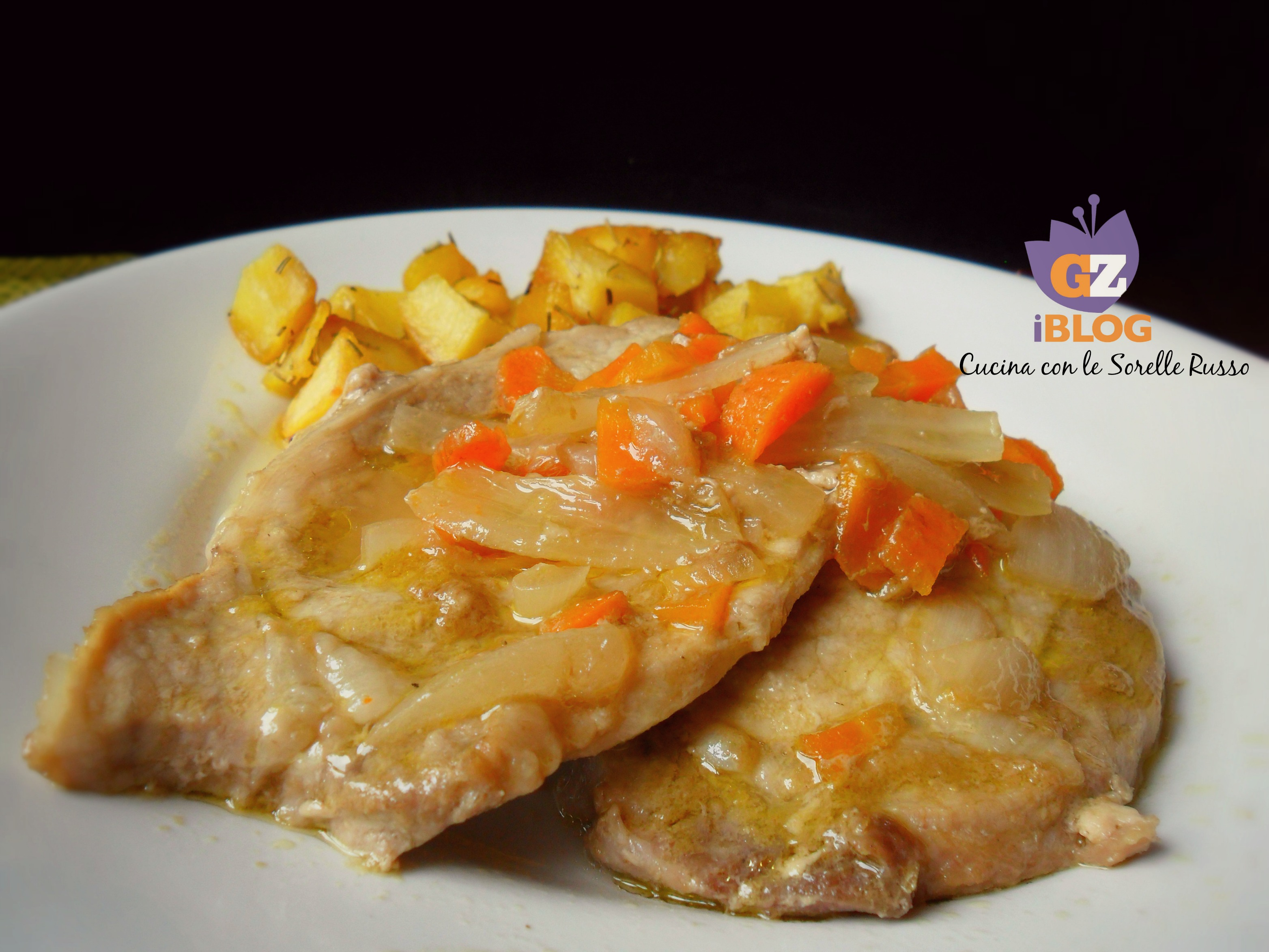 Lombo  di maiale alle carote con patate aromatiche