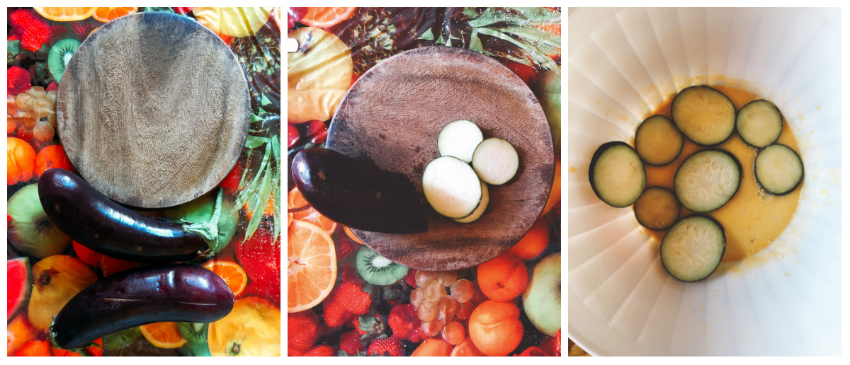 dischi di melanzane impanate