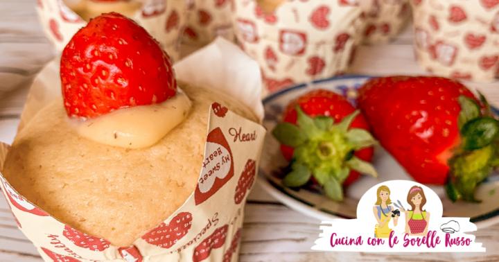 muffin alle fragole e crema alla vaniglia