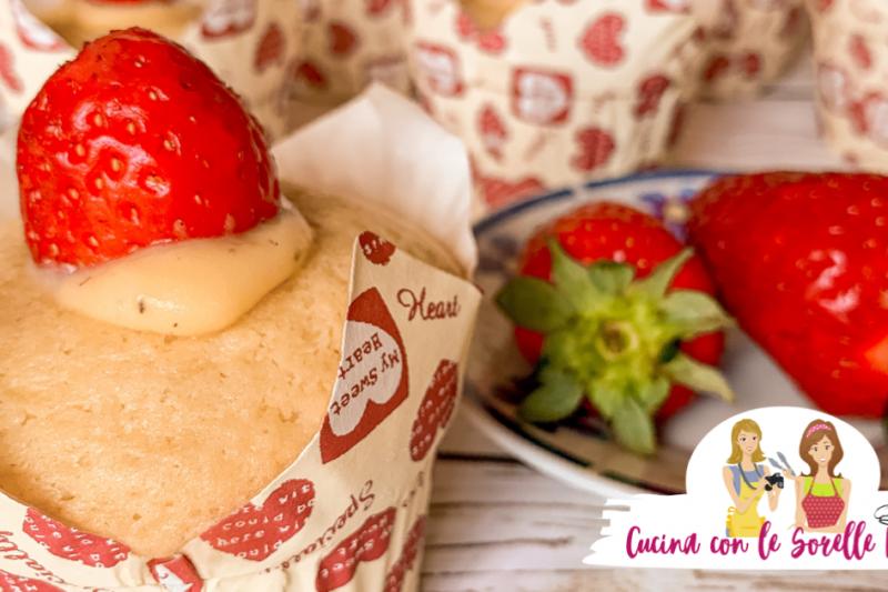 Muffin alle fragole e crema di vaniglia